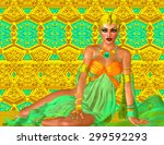 egyptian queen adorned with... | Shutterstock . vector #299592293