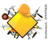vector construction sign with... | Shutterstock .eps vector #299595830