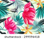 seamless tropical flower  plant ... | Shutterstock . vector #299596418