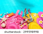 beach accessories on the blue... | Shutterstock . vector #299598998