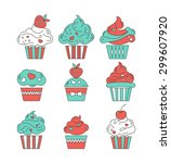 cupcakes flat icons on an