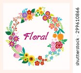 greeting card with flowers  | Shutterstock .eps vector #299610866