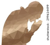 low poly silhouette man on... | Shutterstock .eps vector #299614499