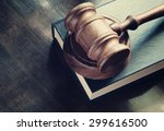 judge gavel and legal book on... | Shutterstock . vector #299616500