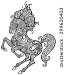 zentangle ornate horse   hand... | Shutterstock .eps vector #299620403