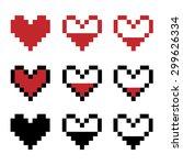 pixel hearts | Shutterstock .eps vector #299626334