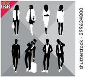 set of man and women silhouette ... | Shutterstock .eps vector #299634800