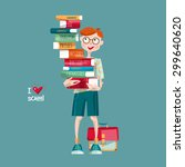 boy with a stack of books. i... | Shutterstock .eps vector #299640620
