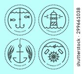 sea line icons badges | Shutterstock .eps vector #299661038