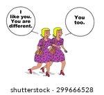 cartoon of two millennial woman ... | Shutterstock . vector #299666528
