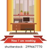 interior home cabinet spacious... | Shutterstock .eps vector #299667770