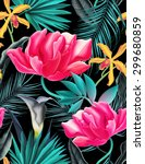 seamless tropical flower  plant ... | Shutterstock . vector #299680859