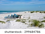 beach items for enjoying a day... | Shutterstock . vector #299684786