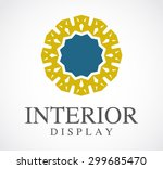 Round Frame Ornament Interior Abstract Vector Logo Design Template Business Furniture Icon Company Art Shop Symbol