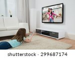 girl with remote control... | Shutterstock . vector #299687174