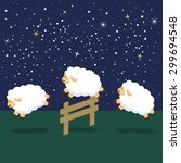 counting sheep in night... | Shutterstock .eps vector #299694548