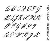 hand drawn vector alphabet ... | Shutterstock .eps vector #299697263
