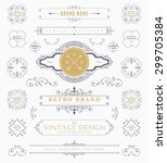 set of vintage decorations... | Shutterstock .eps vector #299705384