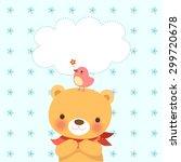 cute bear and a little bird... | Shutterstock .eps vector #299720678
