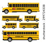 Flat Vector School Buses In Tw...