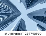 up view in financial districtg  ... | Shutterstock . vector #299740910