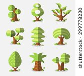 vector bright trees collection | Shutterstock .eps vector #299778230