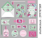 set of wedding stationary  ... | Shutterstock .eps vector #299787389