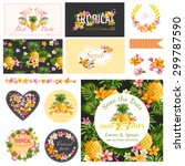 baby shower tropical theme  ... | Shutterstock .eps vector #299787590