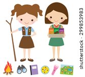 vector illustration of girl... | Shutterstock .eps vector #299853983