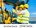 asian worker at construction... | Shutterstock . vector #299876096