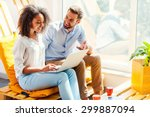sharing their ideas. smiling... | Shutterstock . vector #299887094