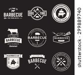 vector set of barbecue labels ... | Shutterstock .eps vector #299889740