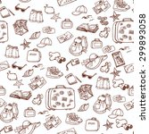 hand drawn summer time seamless ... | Shutterstock .eps vector #299893058