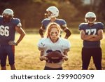 American Football Woman Player...