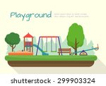 Kids playground. Buildings for city construction. Set of elements to create urban background, village and town landscape.  Flat style vector illustration. | Shutterstock vector #299903324