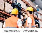 worker team taking inventory in ... | Shutterstock . vector #299908556
