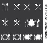 cutlery icons set | Shutterstock .eps vector #299911118
