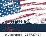 silhouette of soldiers fighting ... | Shutterstock .eps vector #299927414
