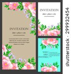 invitation with floral... | Shutterstock .eps vector #299932454