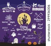 happy halloween design elements.... | Shutterstock .eps vector #299936306