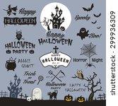 happy halloween design elements.... | Shutterstock .eps vector #299936309