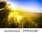 sunset over mountains near sea | Shutterstock . vector #299943188