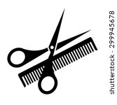 hair salon with scissors and... | Shutterstock .eps vector #299945678