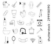 hygiene and bathroom icons set   Shutterstock .eps vector #299958590
