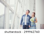 couple waiting at airport for... | Shutterstock . vector #299962760