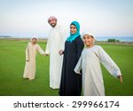 arabic family on green meadow... | Shutterstock . vector #299966174