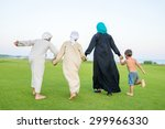 arabic family on green meadow... | Shutterstock . vector #299966330