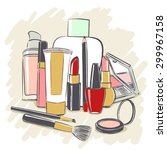set of cosmetics products for...   Shutterstock .eps vector #299967158