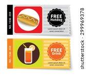 set of hotdog and juice coupon... | Shutterstock .eps vector #299969378