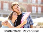 couple suffering summer heat... | Shutterstock . vector #299970350
